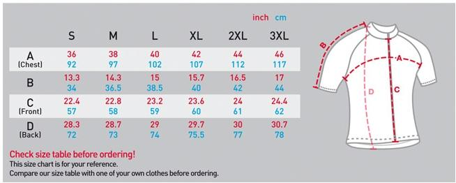 fixgear short sleeve cycling jerseys sizing chart